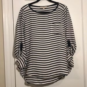 Loft Navy & White Striped Long Sleeve Blouse